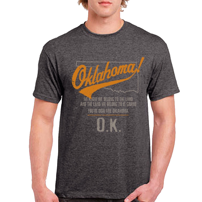 Oklahoma Unisex Heather Charcoal Map Outline Tee