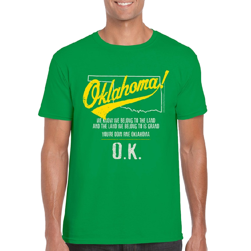 Oklahoma Unisex Irish Green Tee- Map Outline - Customizable