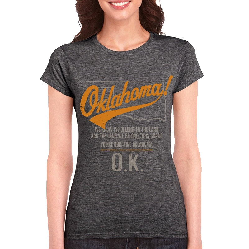 Oklahoma Ladies Heather Charcoal Tee- Map Outline