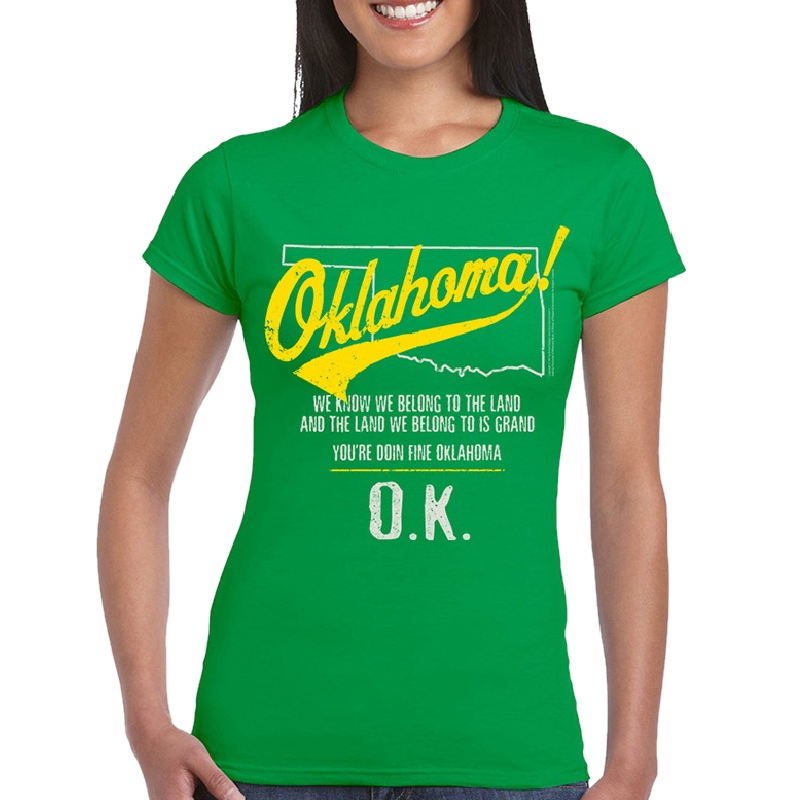 Oklahoma Ladies Irish Green Tee- Map Outline- Customizable