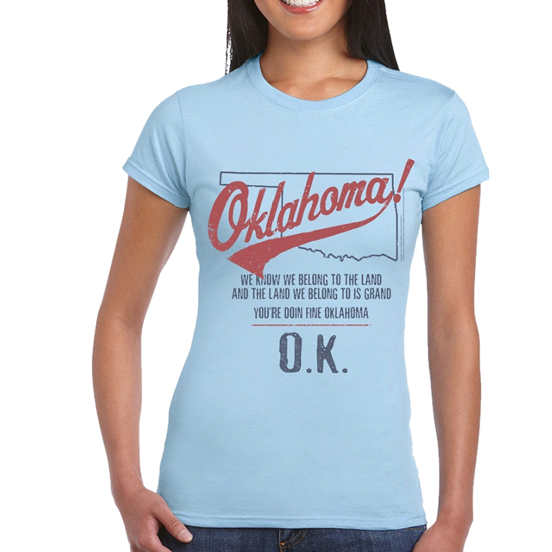 Oklahoma Ladies Light Blue Tee- Map Outline