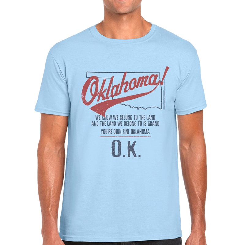 Oklahoma Unisex Light Blue Map Outline Tee